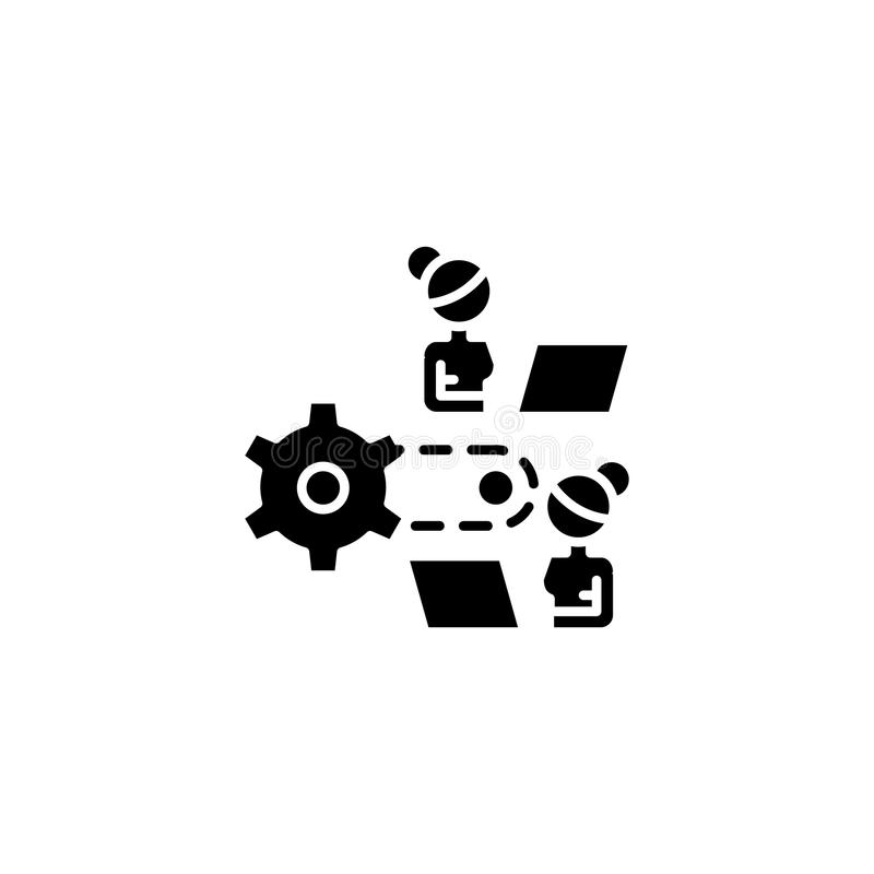 Concept noir de processus d'icône de travail Travaillez le symbole plat de processus de vecteur, signe, illustration illustration libre de droits