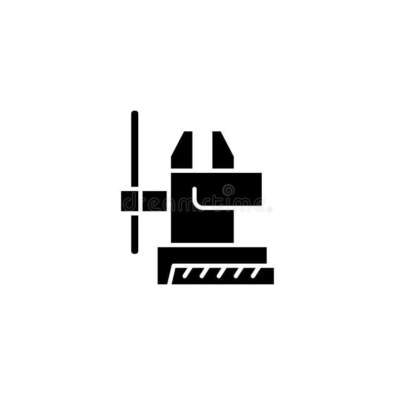 Concept noir de processus vice d'icône Symbole plat de processus vice de vecteur, signe, illustration illustration de vecteur