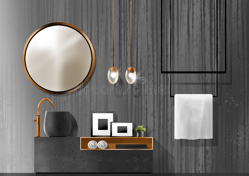 Concept noir de salle de bains, peinture d'illustration photographie stock