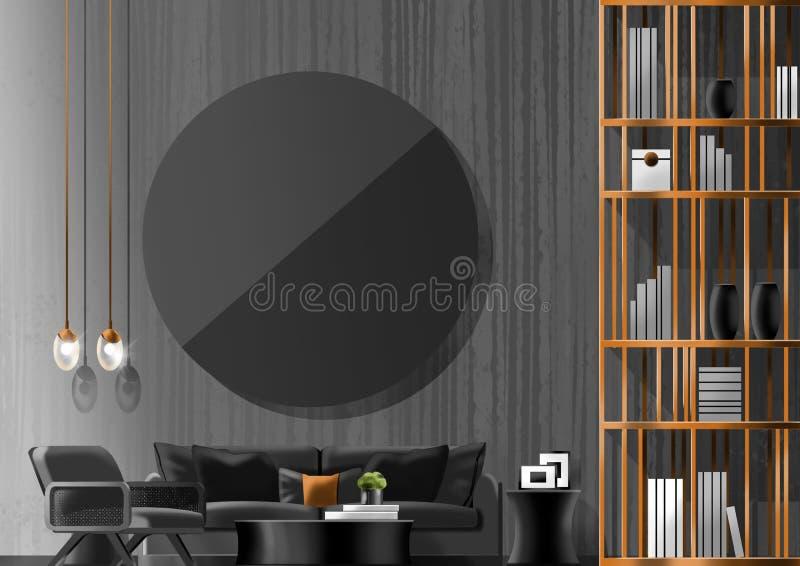 Concept noir de salon, peinture d'illustration image libre de droits