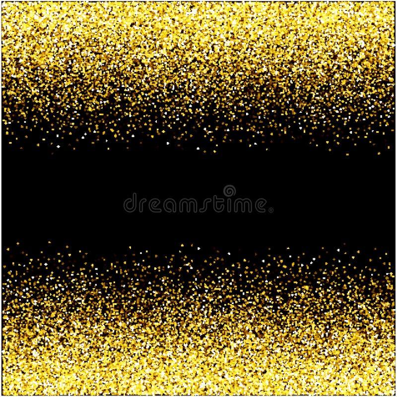 Concept noir de vacances de bonne ann?e de fond de scintillement de cascades d'?tincelle-bulles de champagne d'?toiles d'or de pa illustration libre de droits