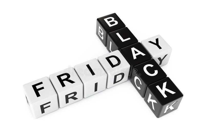 Concept noir de vendredi Signe comme blocs de mots croisé rendu 3d illustration libre de droits