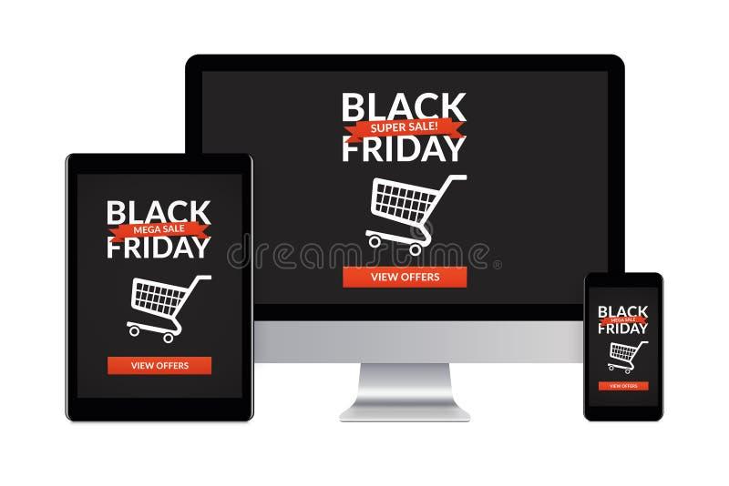Concept noir de vendredi sur des appareils électroniques d'isolement sur le CCB blanc illustration de vecteur