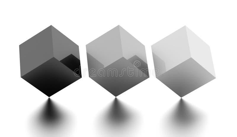 Concept noir et blanc d'affaires de cubes en arbre rendu photographie stock