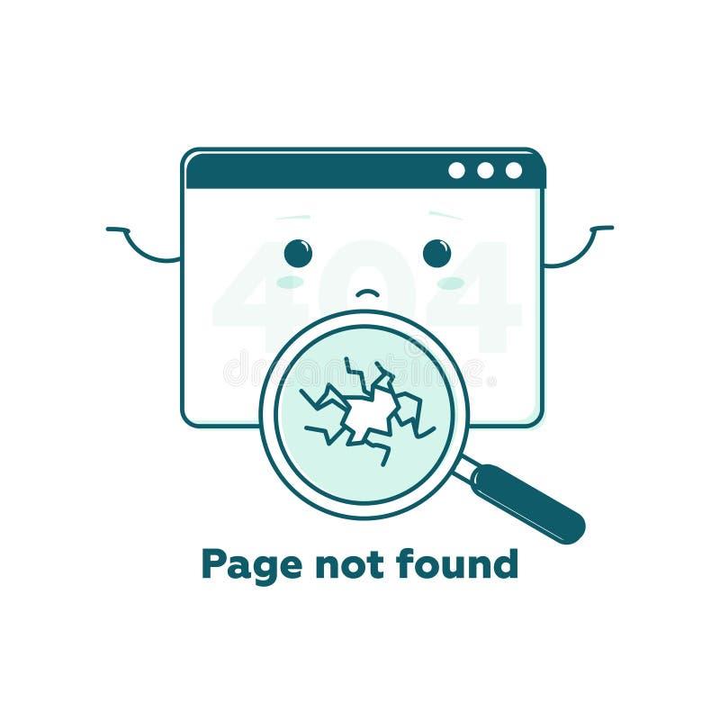 Concept non trouvé de page, page Web de 404 erreurs avec le visage mignon de bande dessinée Plat concept d'illustration au trait  illustration de vecteur