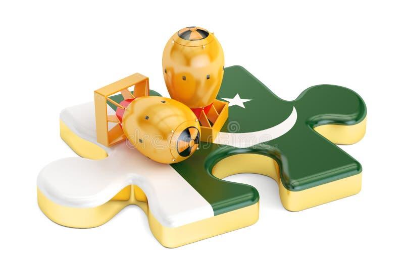 Concept nucléaire pakistanais d'arme atomique, rendu 3D illustration stock