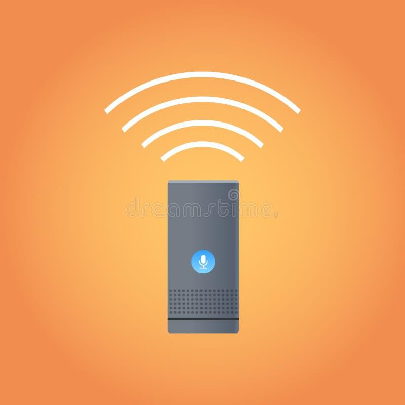 Concept numérique d'appareils ménagers d'intelligence de haut-parleur d'icône auxiliaire à la maison futée de dispositif à plat illustration stock