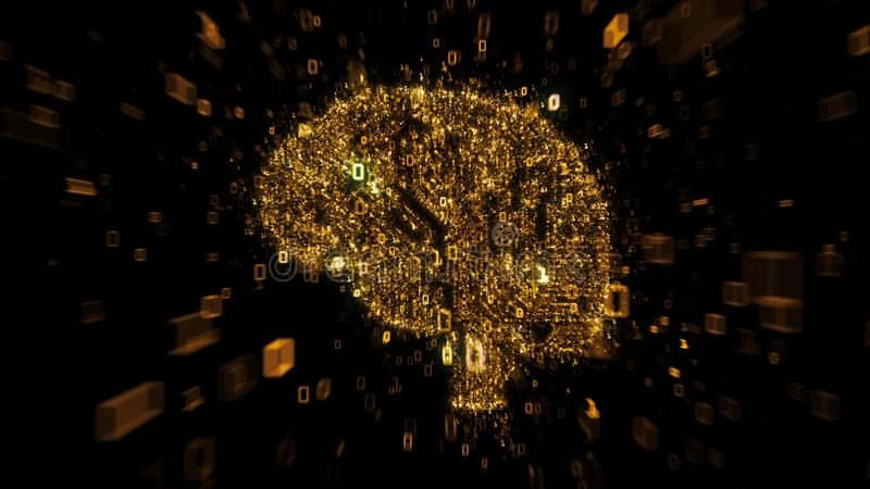 Concept numérique orange de cerveau - circuit d'ordinateur avec le code binaire illustration libre de droits