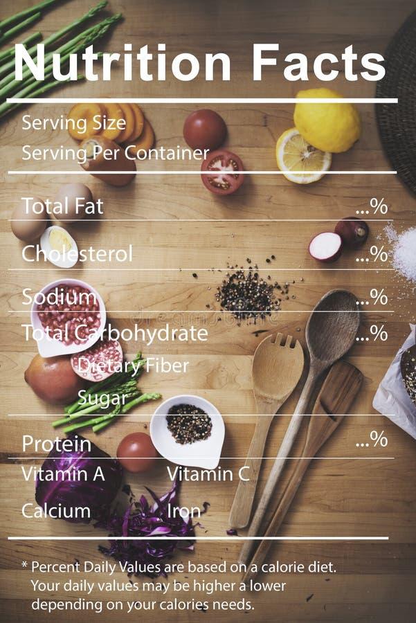 Concept nutritionnel de régime médical de faits de nutrition photographie stock