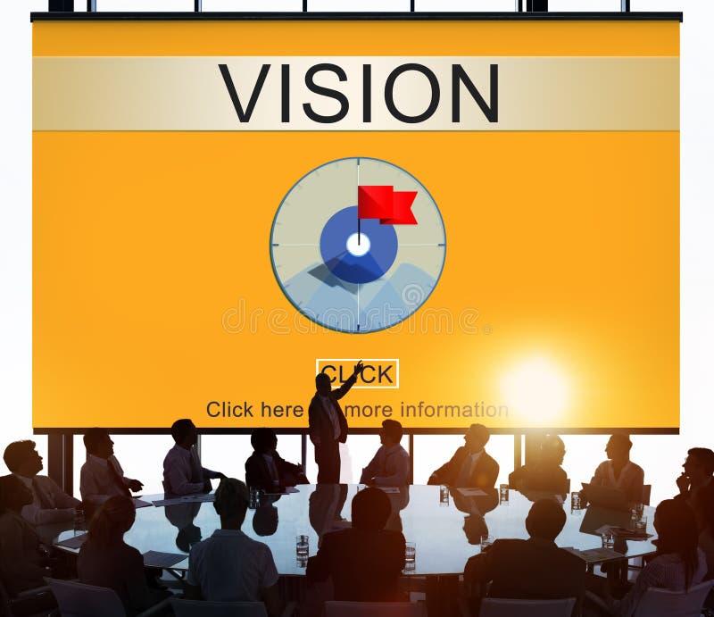 Concept objectif de cible de philosophie de moyen de valeur de vision photo stock