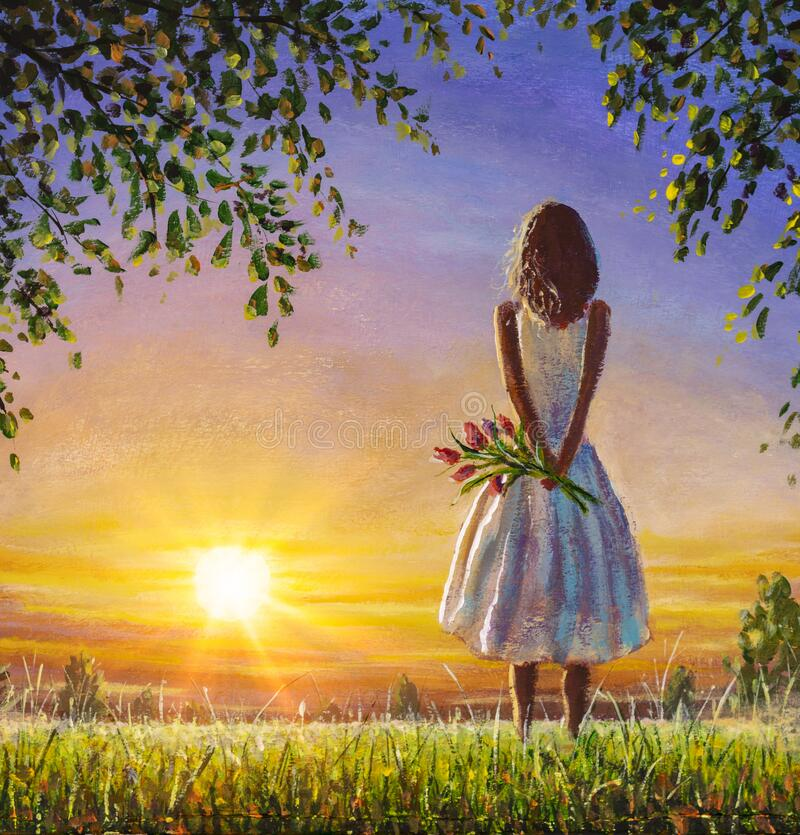Free Concept Of Female Loneliness. Acrylic Painting Lonely Girl With Bouquet Of Wildflowers Looks Into Distance At Sunset Dawn Of Sun Royalty Free Stock Images - 176273719