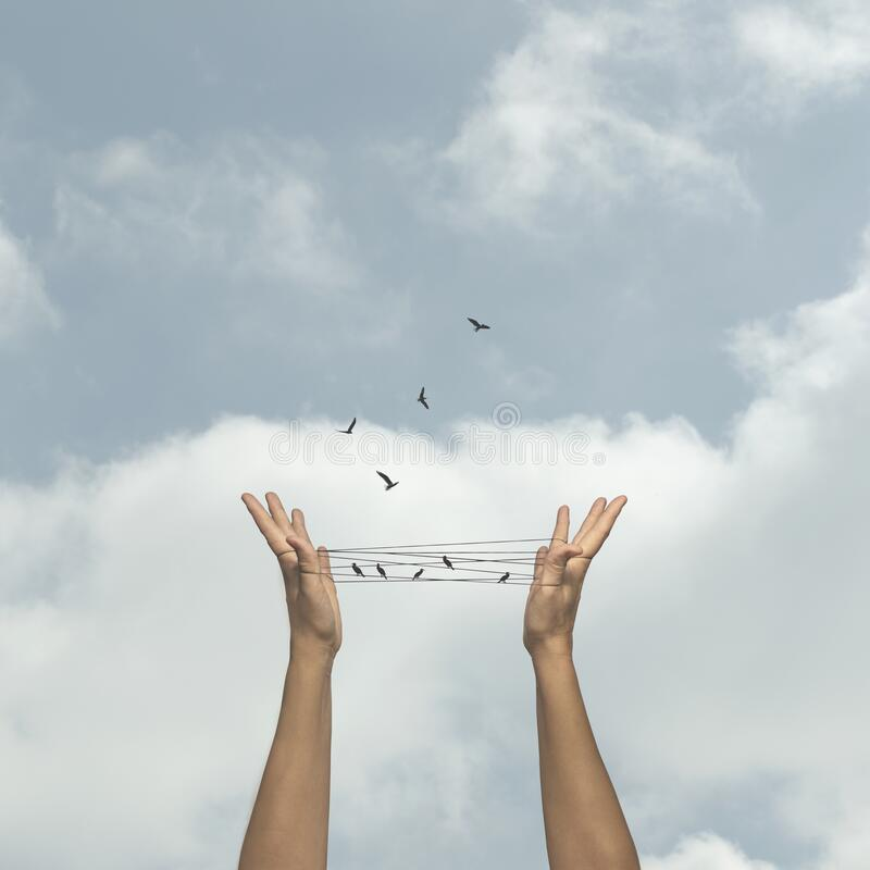 Free Concept Of Freedom Of Birds That Flie Away From A Man-made Trap Stock Images - 179498064
