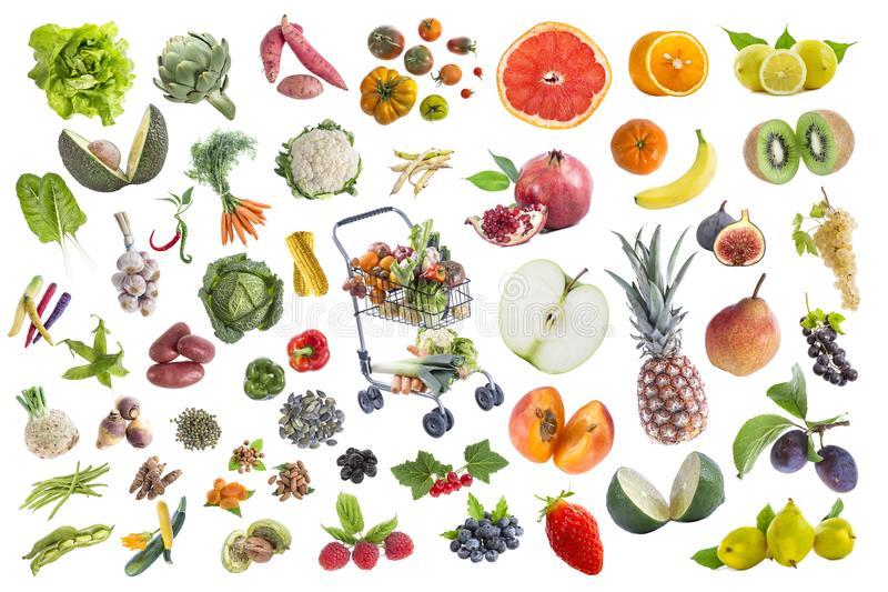 Concept of healthy food, Various Fruits and vegetables to eat five a day on withte background with a full grocery stock photos