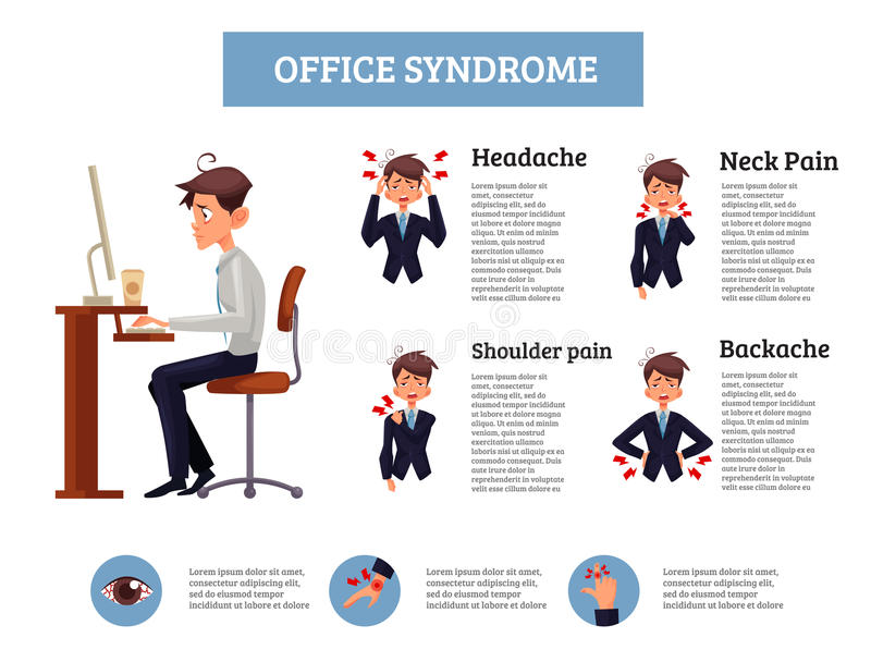 Concept of office syndrome in men vector illustration
