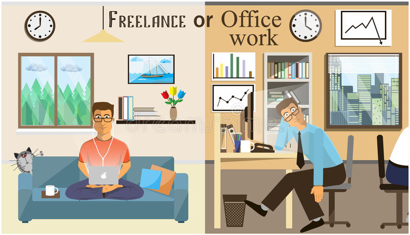 The Concept Of Office Work And The Freelancing. Scenes Of People Working In  The Office. Interior Office And Living Room. Home Office Vector  Illustration In ...