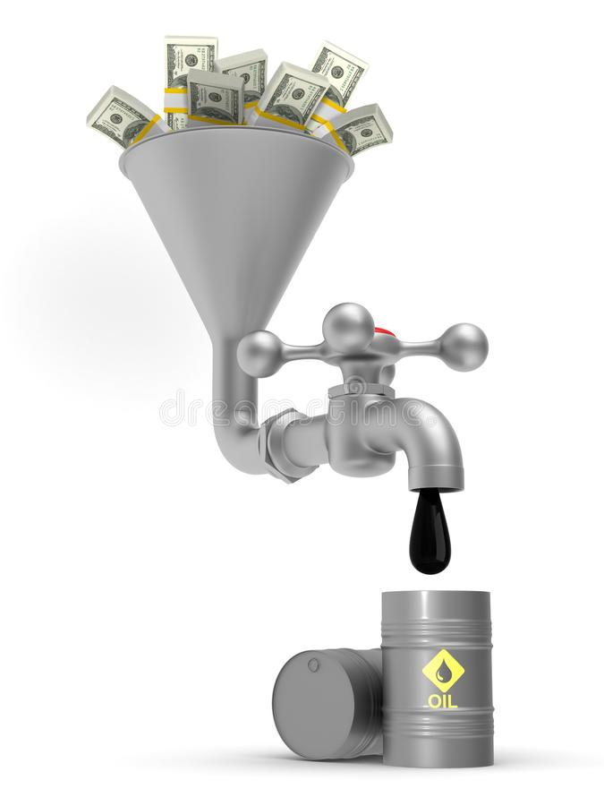 Concept oil production on white background. Isolated 3D illustration.  vector illustration