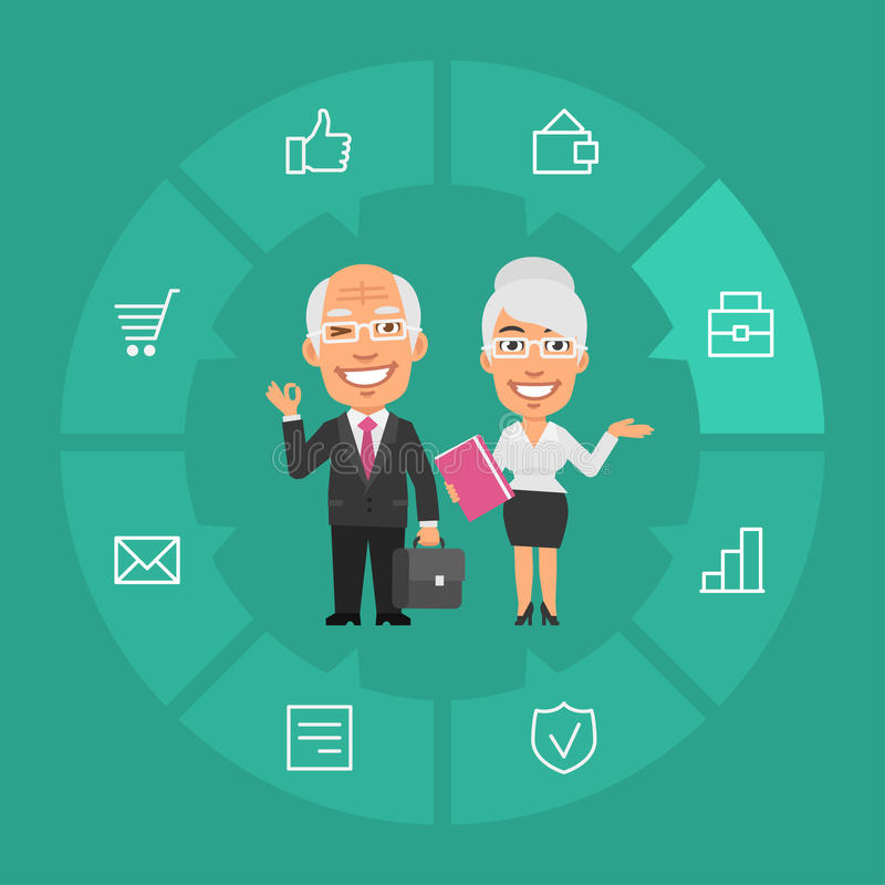 Concept Old Businessman and Businesswoman. Vector Illustration, Concept Old Businessman and Businesswoman, Format EPS 8 vector illustration