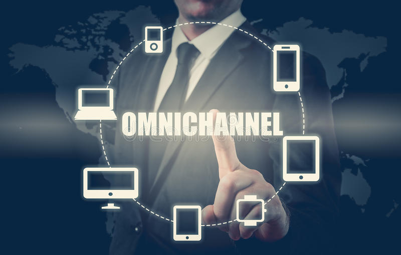 The concept of Omnichannel between devices to improve the performance of the company. Innovative solutions in business.  stock images