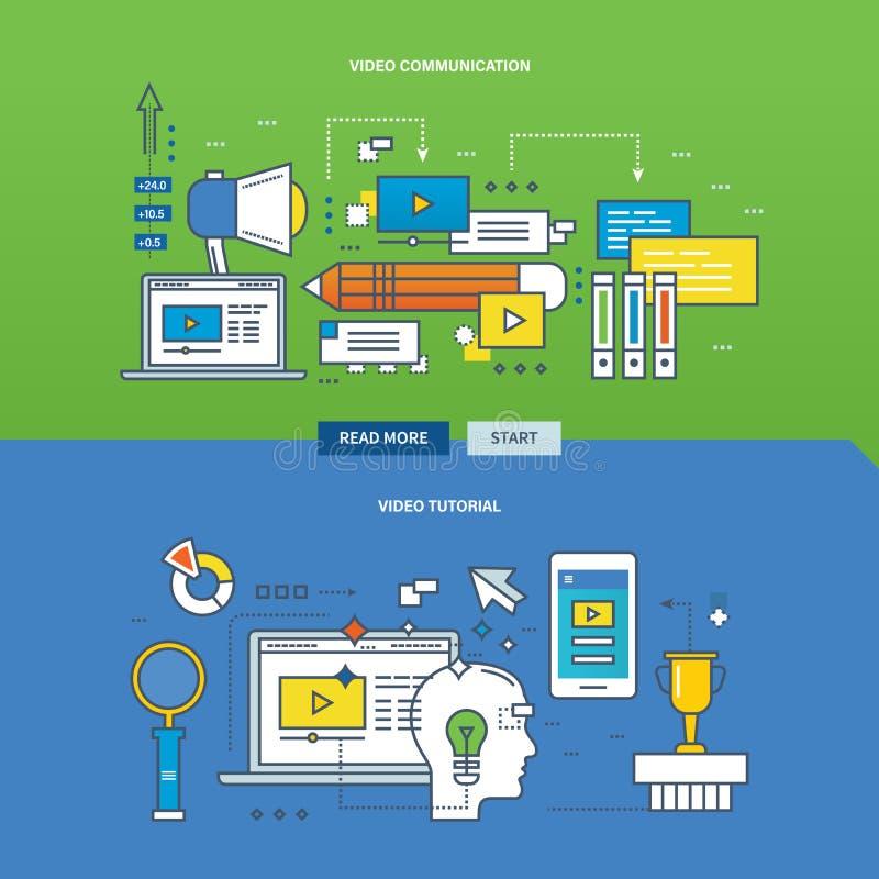 Concept onderwijs, online lerend met videomededeling en leerprogramma stock illustratie