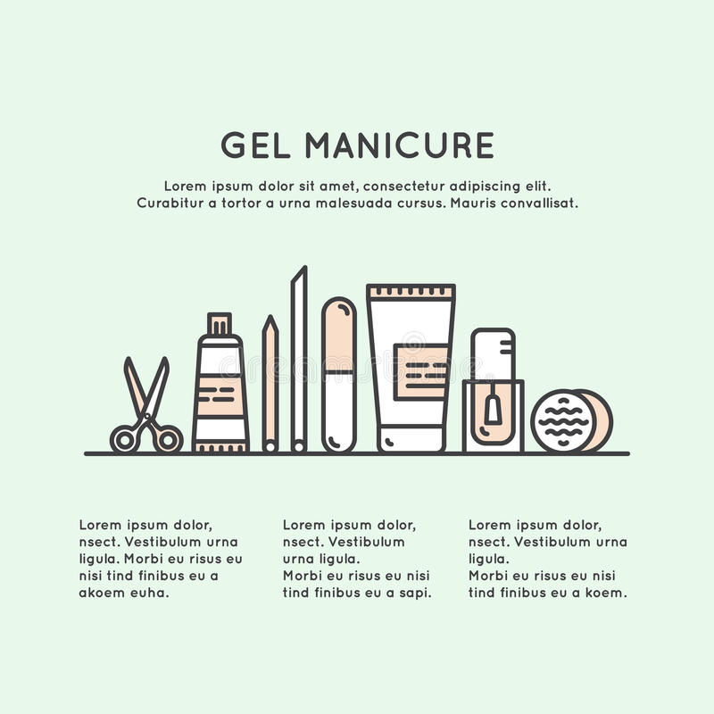 Concept One Page Web Site Template for Gel Manicure Pedicure Salon or Shop. Vector Icon Style Illustration Concept One Page Web Site Template for Gel Manicure royalty free illustration
