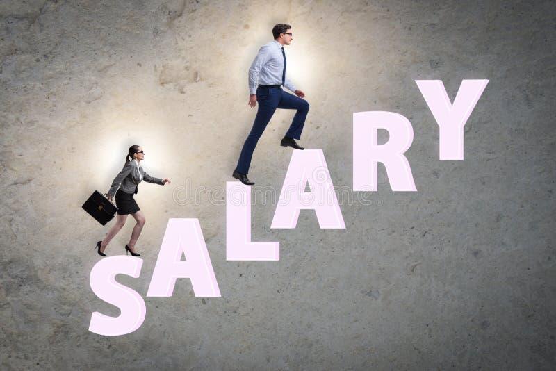 Concept ongelijk salaris tussen de mens en vrouw stock foto