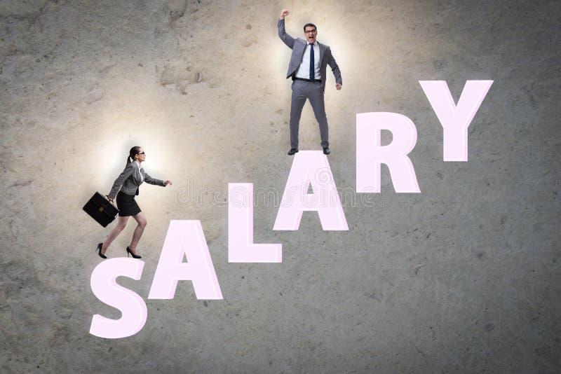 Concept ongelijk salaris tussen de mens en vrouw stock afbeeldingen