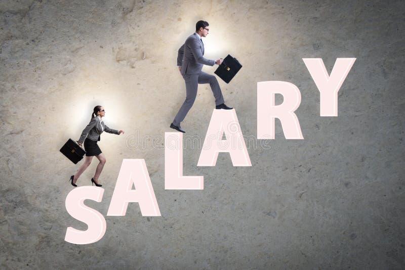 Concept ongelijk salaris tussen de mens en vrouw royalty-vrije stock afbeeldingen