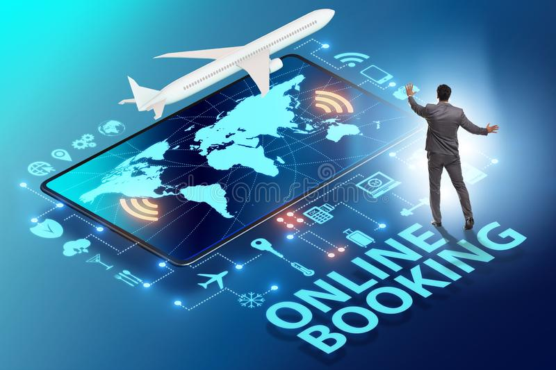 Concept of online airtravel booking with businessman royalty free stock photos