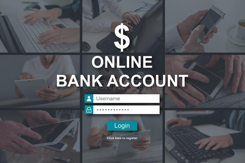 Concept of online bank account. Online bank account concept illustrated by pictures on background stock images