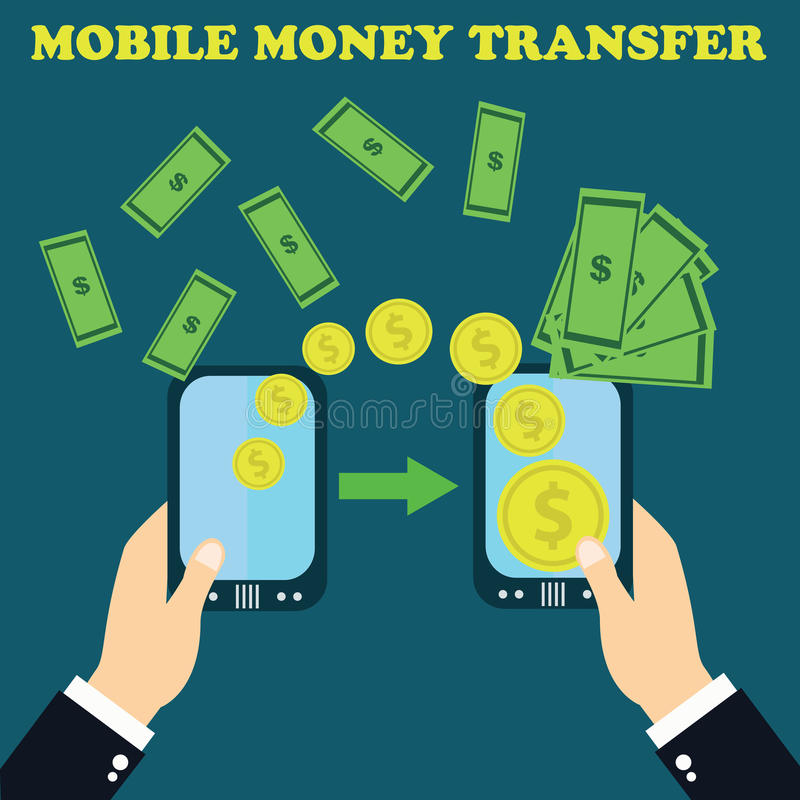 Concept online banking, Mobile money transfer, financial operations. royalty free illustration