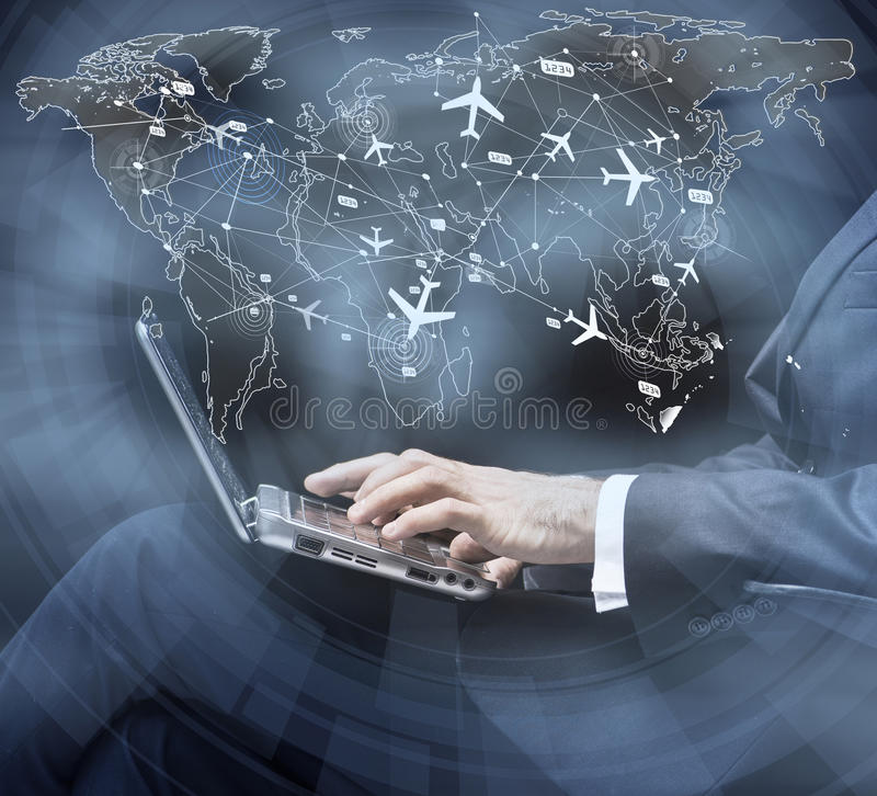The concept of online booking for air travel. Concept of online booking for air travel stock photography