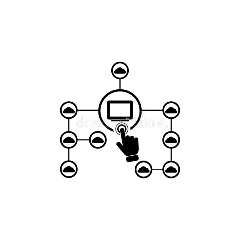 Concept online cloud network on touch screen icon. Element of touch screen technology icon. Premium quality graphic design icon. S. Igns and symbols collection vector illustration