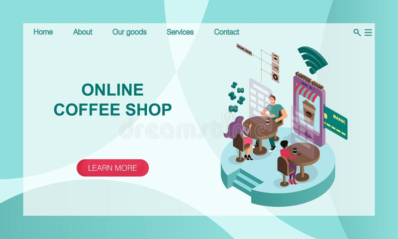 The concept of online coffee shop. 3D isometric  illustration Vector website landing page design template. The concept of online coffee shop. Services and royalty free illustration