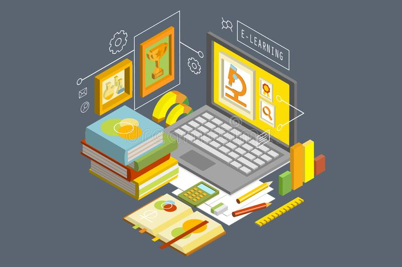 Concept of online education and distance e-learning. Isometric vector illustration with laptop, stack of books, graphs. Concept of online education and distance royalty free illustration