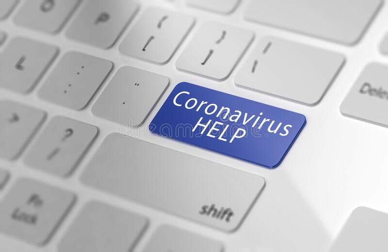Concept of online help for the Corona virus stock photography
