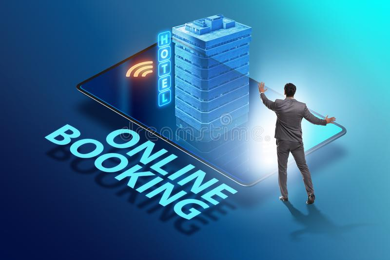 Concept of online hotel booking with businessman stock images