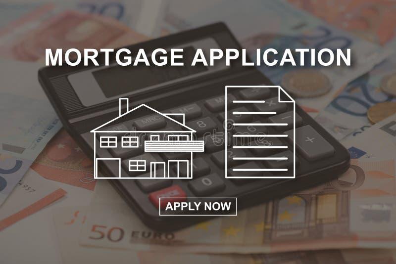 Concept online hypotheek stock afbeelding