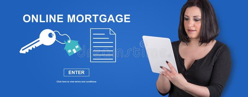 Concept online hypotheek stock foto