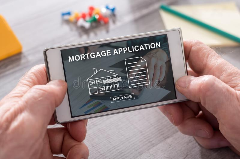 Concept online hypotheek stock afbeeldingen