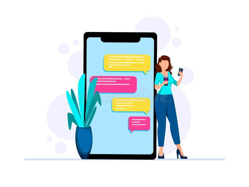 Concept online mededeling Sociaal Voorzien van een netwerk vector illustratie