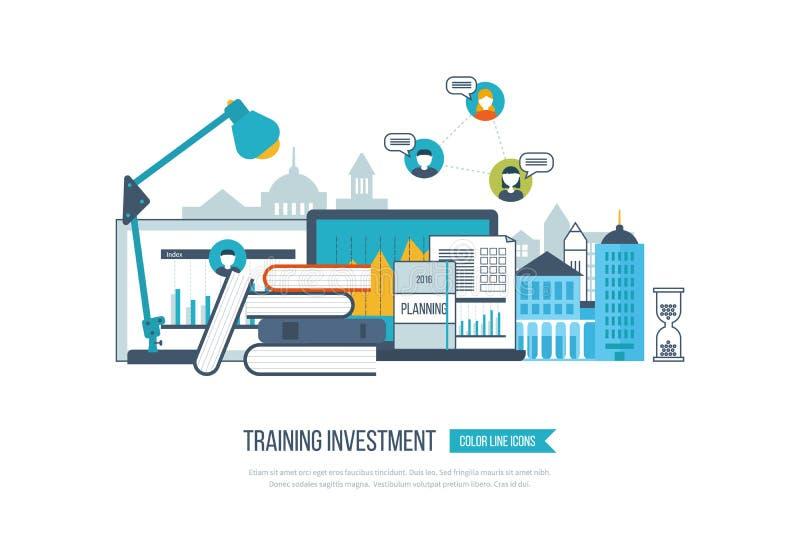 Concept online onderwijs, trainingscursussen, universiteit, leerprogramma's royalty-vrije illustratie