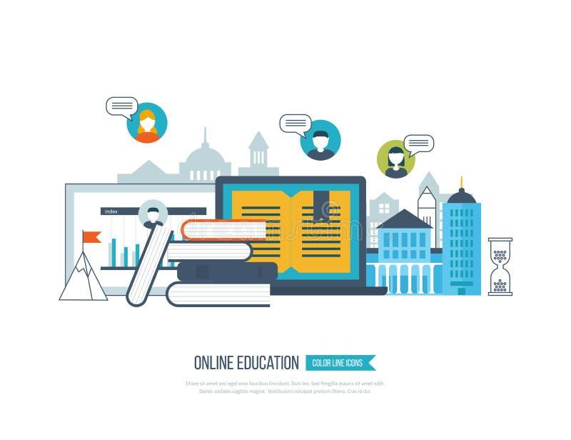 Concept online onderwijs, trainingscursussen, universiteit, leerprogramma's stock illustratie