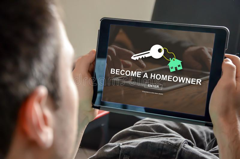 Concept of online real estate. Online real estate concept on a tablet royalty free stock photo