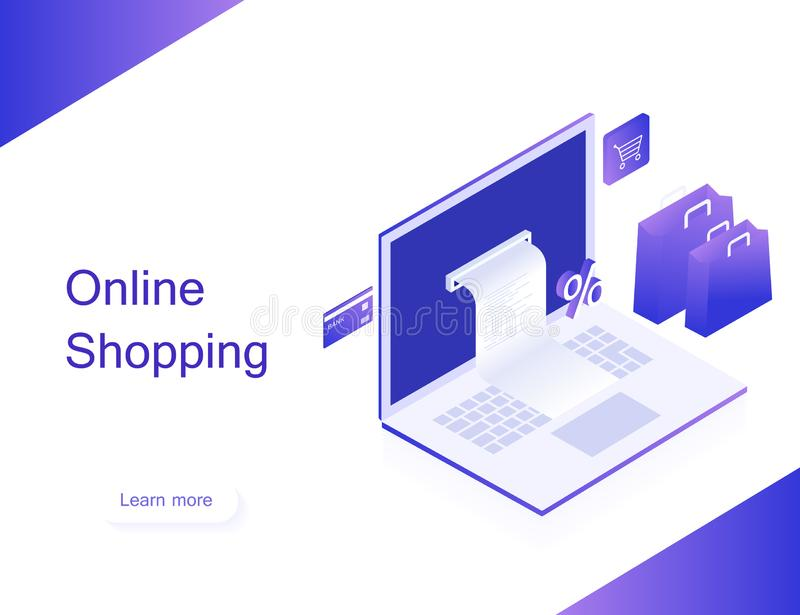 online shop. Transfer money from card. Isometric image of laptop, bank card and shopping bag on white background. 3d flat design. stock photography
