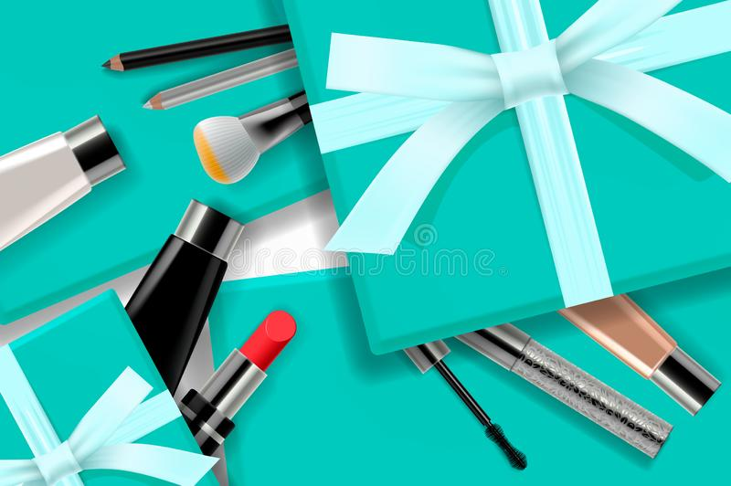 Concept online shopping cosmetics, gift boxes background top view. Sale Ads, magazine or catalog template design on vector illustration