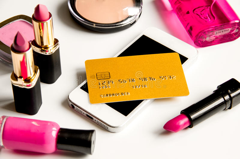 Concept online shopping cosmetics on white background. Close up stock photos