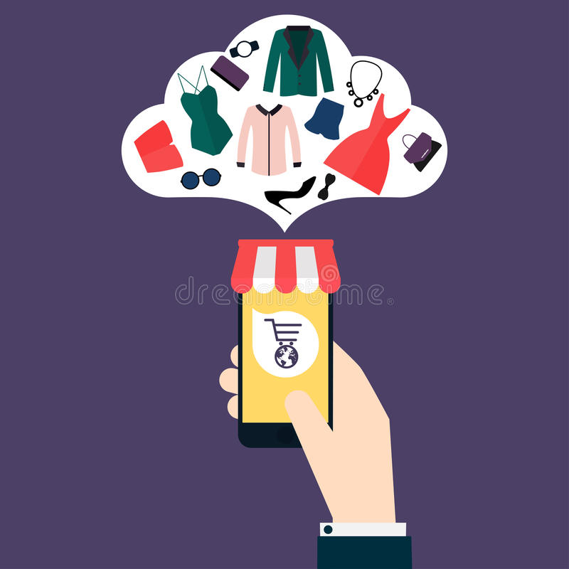 Concept online shopping and e-commerce. Icons for mobile marketing. Hand holding smart phone. Flat design style modern vector il royalty free illustration