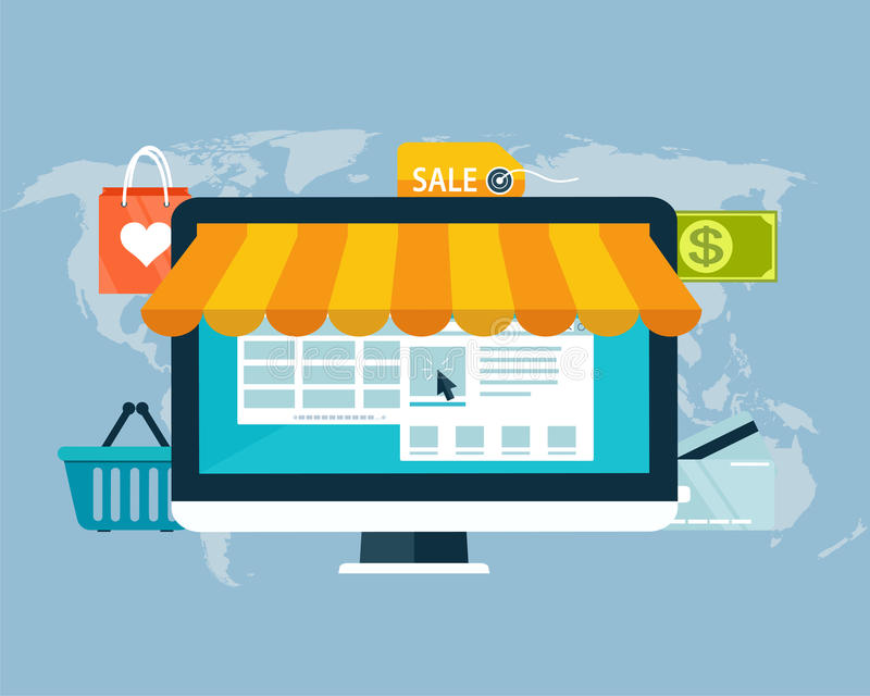 Concept of online shopping by electronic funds stock illustration