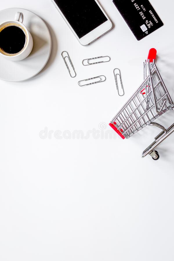 Concept online shopping with smartphone on white background mock up stock image