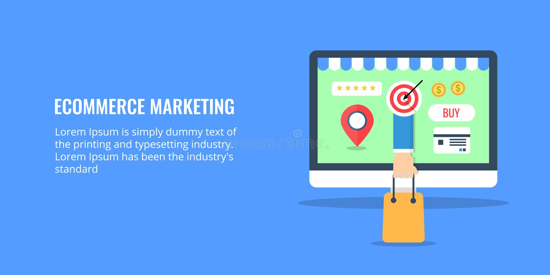 Ecommerce Marketing Online Store E Business Concept Flat Design Ecommerce Banner Stock Vector Illustration Of Content Concept 103949389